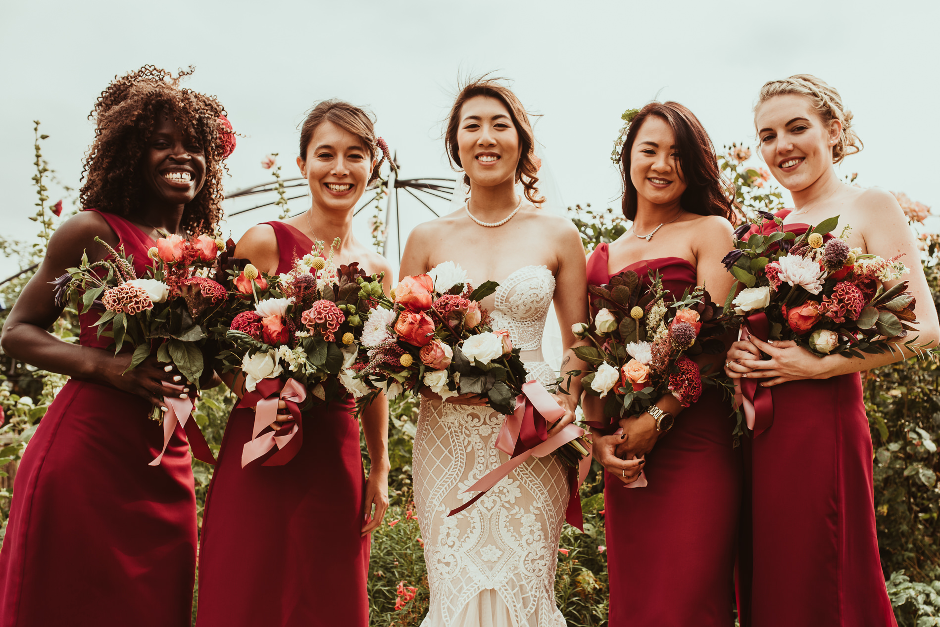 Bridesmaids and wedding flowers from the Flower Monger at White Dove Barns