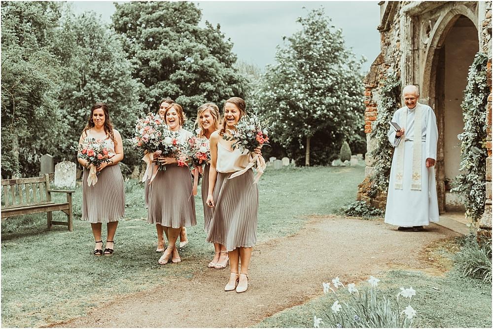 Bridesmaids at country church