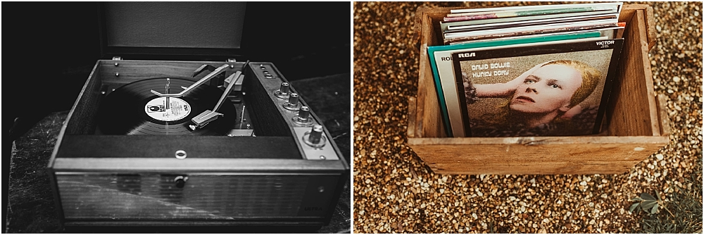 Vintage Records at Wedding Boho Marquee