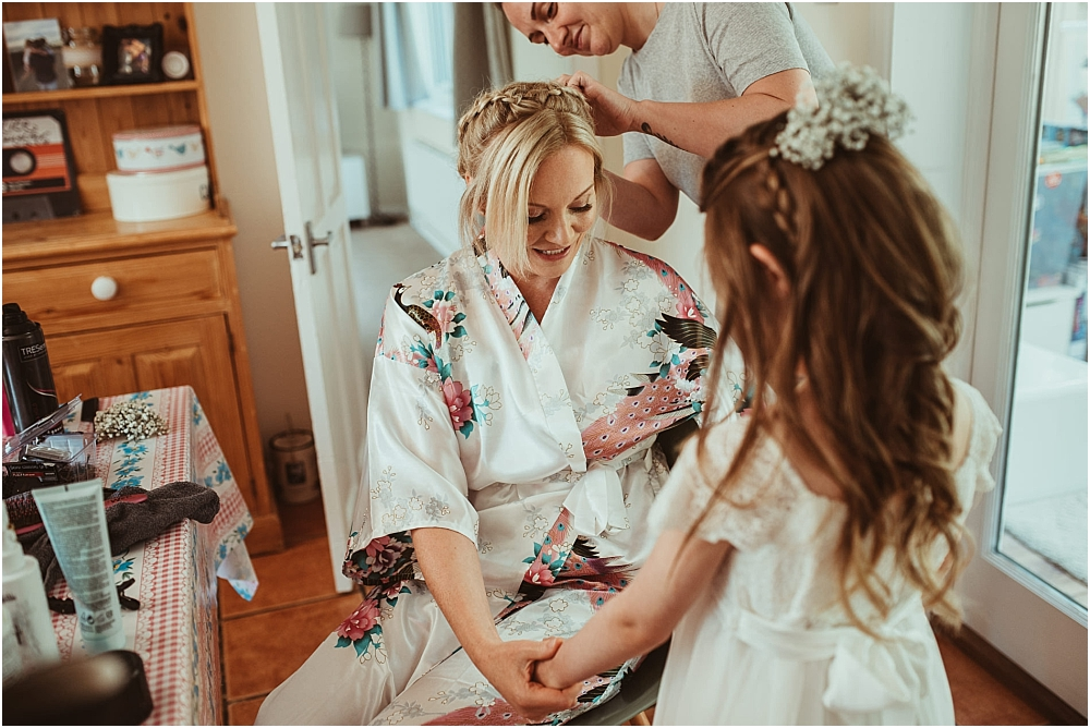 Bride getting ready for wedding at Old Bull Inn Royston