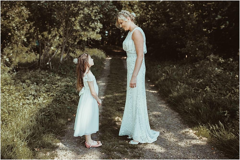 Bride and Flower girl Saffron Walden wedding