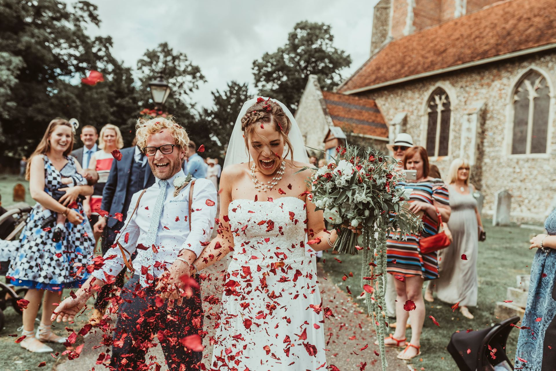 Confetti at Essex Suffolk Wedding