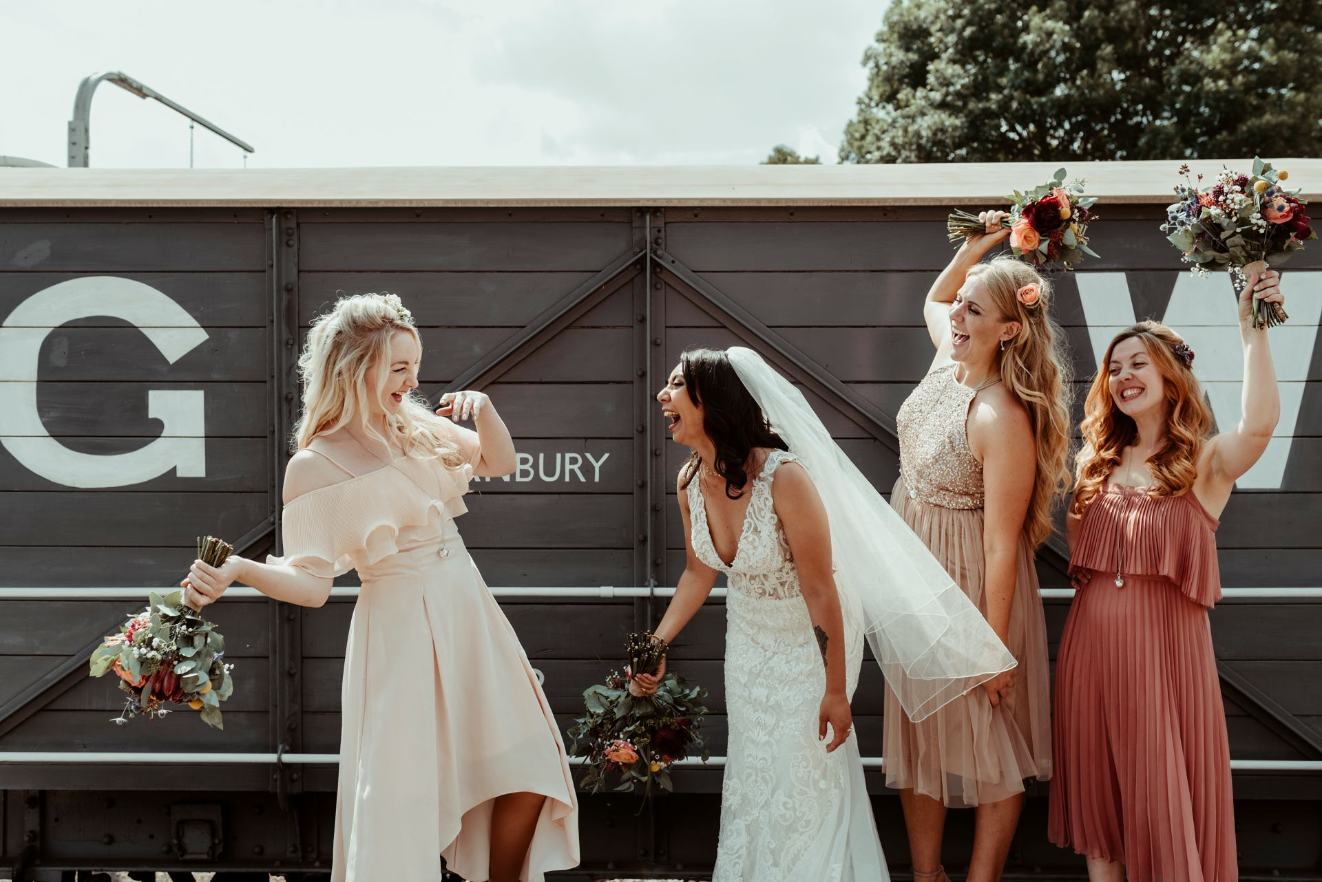Bridesmaids at Alternative Essex Wedding