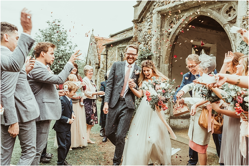 Confetti at wedding Church Essex Country
