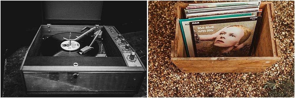 Vintage Records at Wedding Boho Marquee