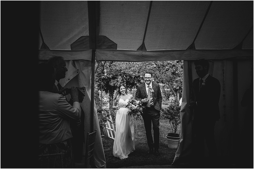 Bride and Groom at Marquee Essex Wedding