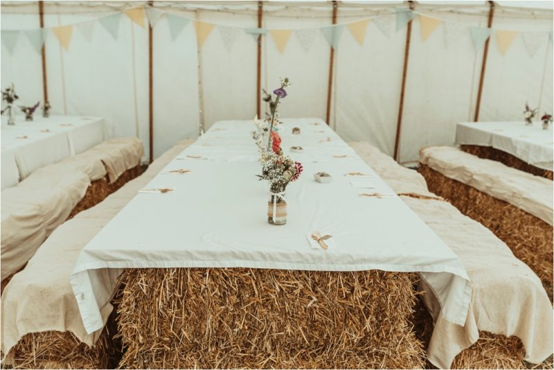 zero waste wedding decorations straw bale table