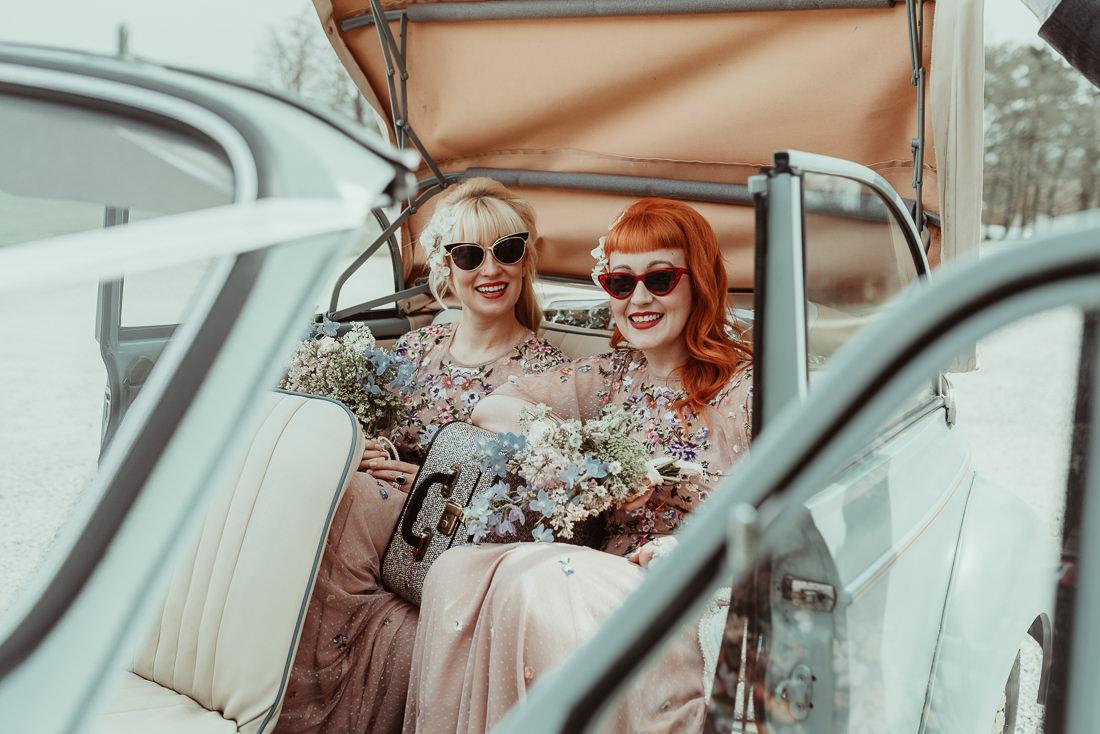 ASOS bridesmaid dresses vintage morris minor Lulworth Castle Wedding