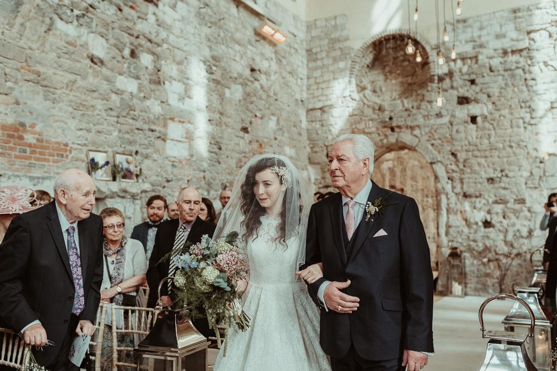 Dad with bride Lulworth Castle Wedding