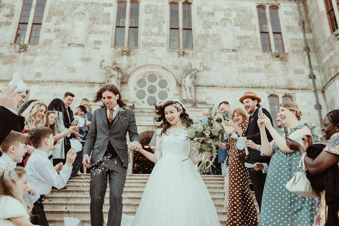 Lulworth Castle Wedding confetti on the steps