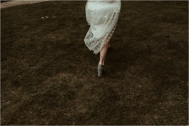 bride walking in Halfpenny dress