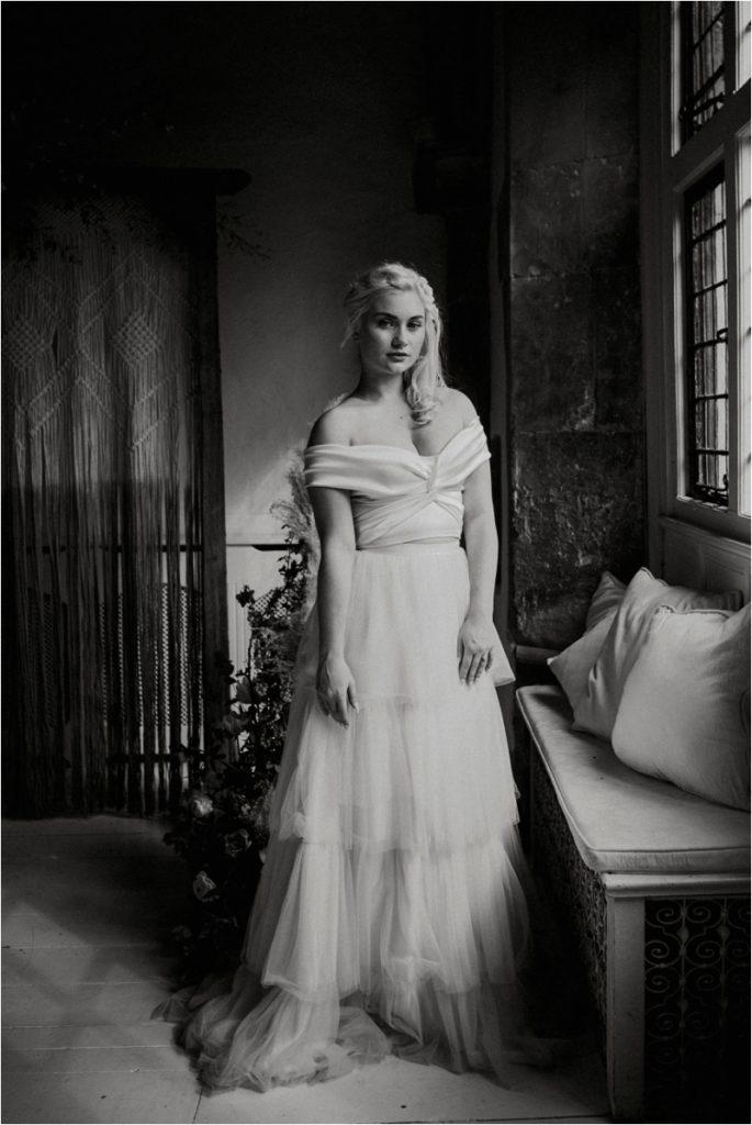 Bride in Halfpenny two-piece wedding dress