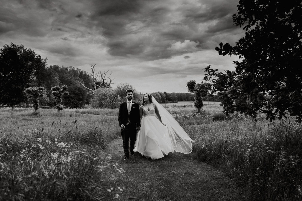 Married couple  at Hengrave Hall black and white art photo
