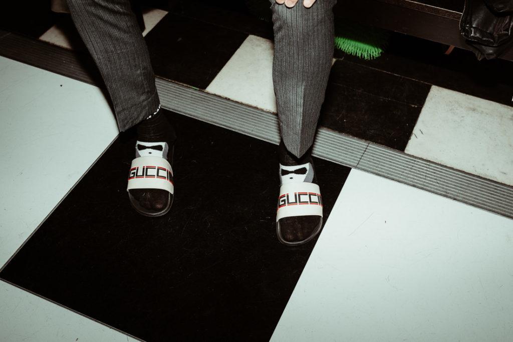 Sandals on dancefloor  at Hengrave Hall