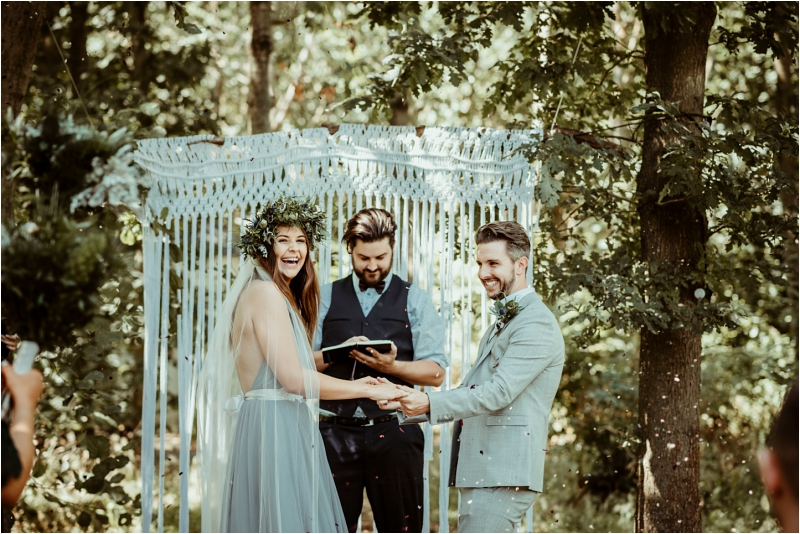 Outdoor woodland wedding at Tey Brook Orchard Essex