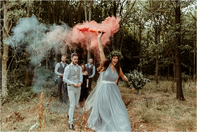 Smoke bomb and bride at Tey Brook Orchard Browning Brothers