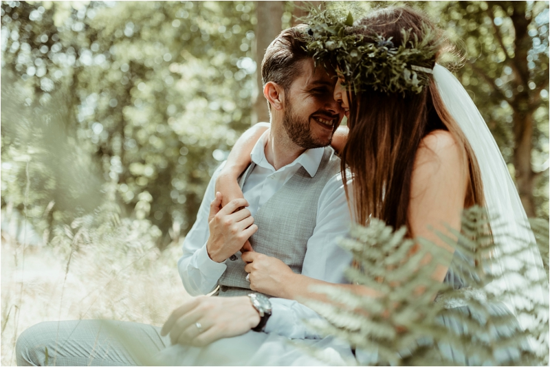Woodland wedding in Essex at Tey Brook Orchard