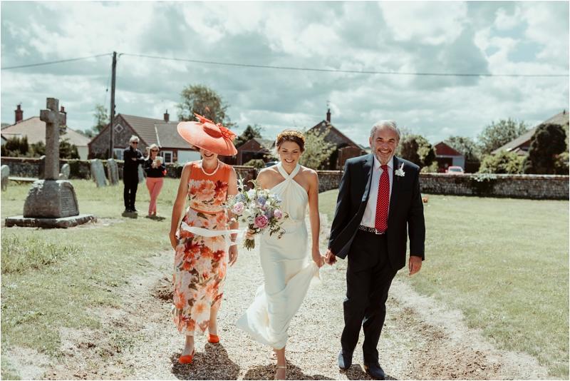 Bride arriving at Micro wedding in Norfolk