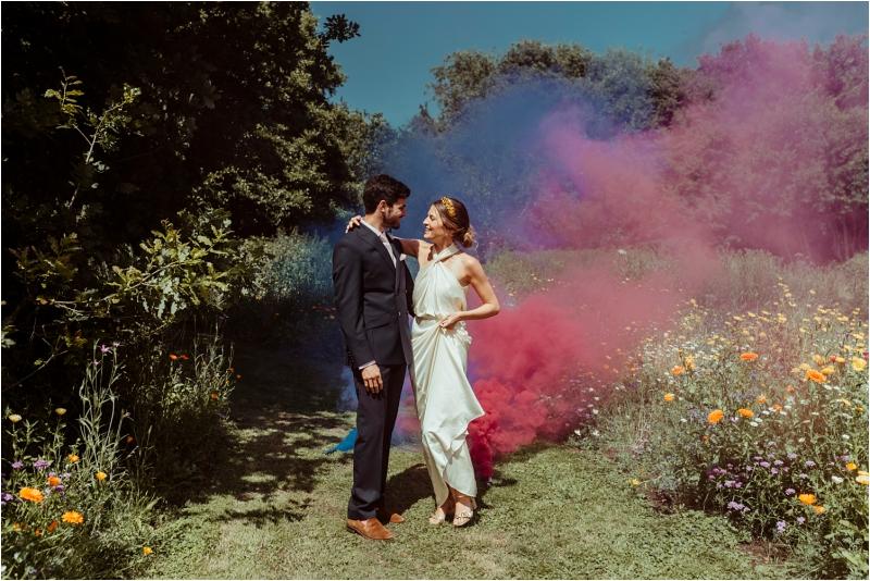 Couple laughing at fun micro wedding