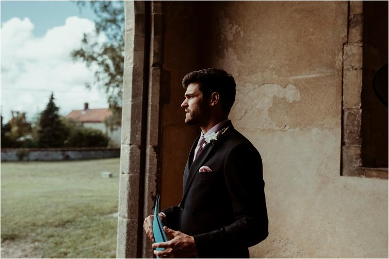 Groom waiting at Norfolk Wedding