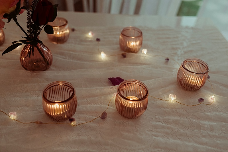Tealights at a back garden wedding