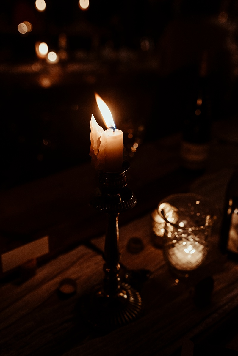 Candlelight at a small back garden wedding