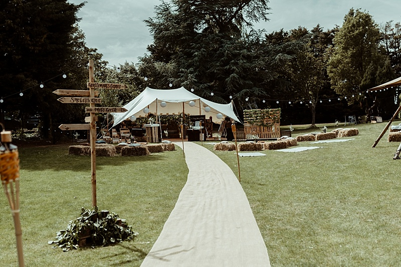 Small canvas marquee at a back garden wedding